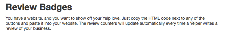 Yelp badge review codes